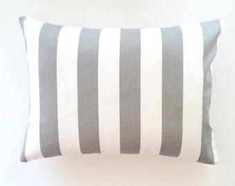 Striped Lumbar Pillow Cover. 12x16 Inch Gray White Stripes Decorative Couch Pillow Cover