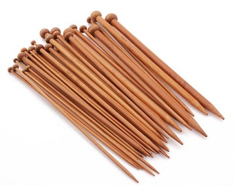 36PCS Carbonized Bamboo Knitting Needles Smooth Crochet Single Pointed 18 Sizes