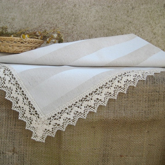 Striped Linen Lace Tablecloth Silver Grey Burlap Natural