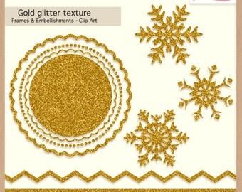 Digital Scrapbooking Pack - GOLD GLITTER TEXTURE - Christmas Frames & Embellishments - Scrapbook Clip Art - Instant Download