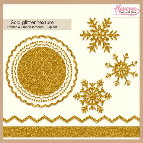 Digital Scrapbooking Pack - GOLD GLITTER TEXTURE - Christmas Frames & Embellishments - Scrapbook Clip Art - Instant Download