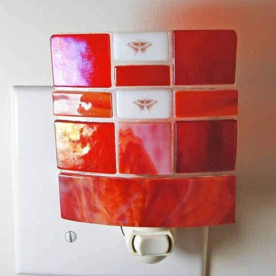 Fused Glass Night Light  Iridescent Red Lighting Bathroom Kitchen Fixture Home Decor Housewares Butterflies