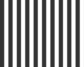 Black and White Small Striped Cotton Fabric by Riley Blake Designs - 1/2 Yard