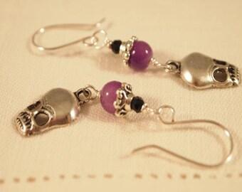 Skull Earrings. Black and Purple Skull Beaded Dangle Pierce Earrings. OOAK Handmade Earrings. CKDesigns.US