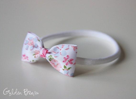 Vintage Floral Baby Headbands - Vintage Floral Small Grosgrain Ribbon Bow Handmade Headbands - Infant to Adult Headband