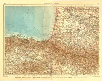 South West France Large Vintage Map, 1922  Chromolithograph
