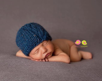 PDF Knitting  Pattern - newborn photography prop cable beanie #3