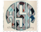 Zig Zag Circle Monogram Applique Machine Embroidery Font Alphabet - 4 Sizes