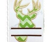 Split Applique Deer Head Buck Silhouette Machine Embroidery Design - 4 Sizes