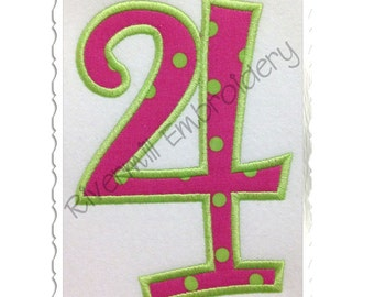 Curlz Applique Numbers Machine Embroidery Design - 4 Sizes