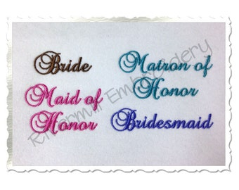 Set of 4 Bridal Party Shirt Cuff Machine Embroidery Designs