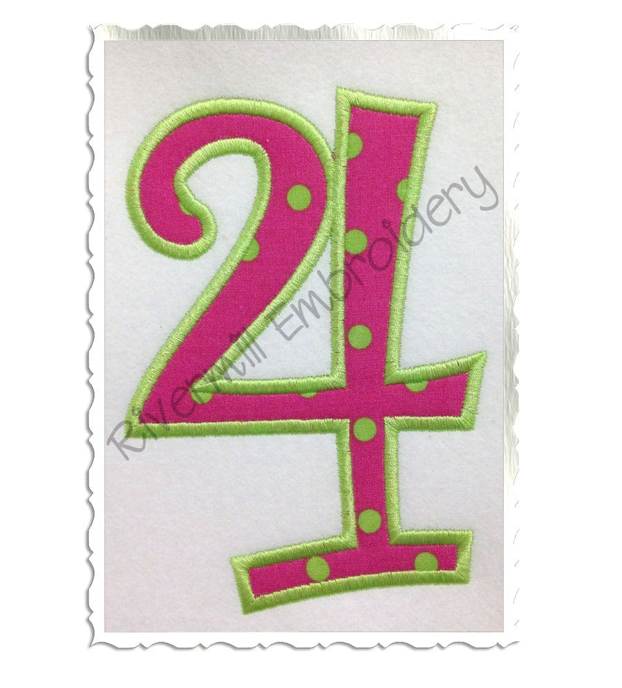 Curlz applique numbers machine embroidery design sizes