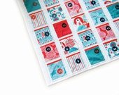 Fabric Advent Calendar - Quilted - Funky Christmas - Wallhanging - Fabric pockets