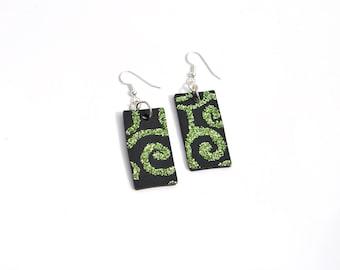 Glitter earrings. Lime Green and Black Bling. Hoop Earrings.  Circles & Swirls.  Black and lime green.