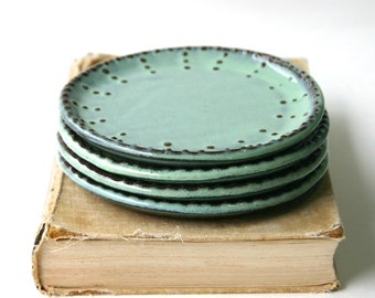 Dessert Plates - Set of 4 - Aqua Mist, Creamy White, Dark Teal - Handmade Stoneware - French Country Dinnerware - MADE TO ORDER