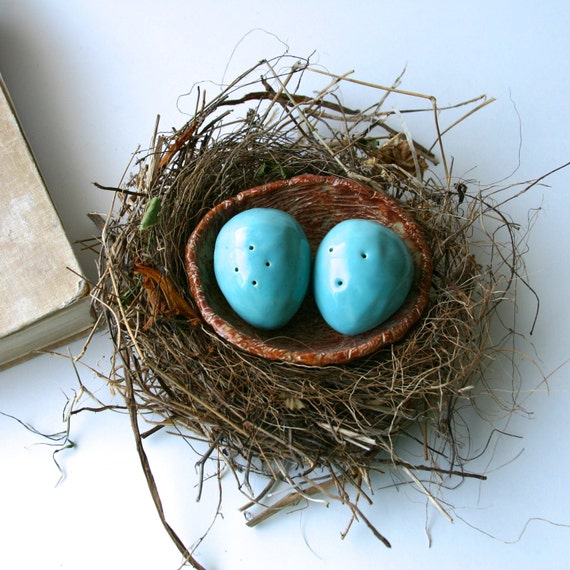 Robins Egg Blue Twig Brown  Kitchen Table Home Decor  Ready to Ship