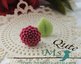 Mum and Leaf stud earrings -purple pink and green