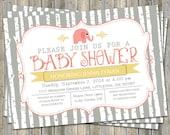 elephant baby girl shower invitation, gray/yellow/coral, shower invitations, digital, printable file
