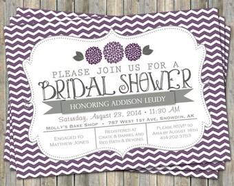 Purple Chevron Bridal Shower invitation with flowers, purple and gray,  printable, digital file