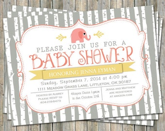 elephant baby girl shower invitation, gray/yellow/coral, shower invitations, digital, printable file