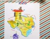 """Texas Illustrated 8""""x10"""" Map"""