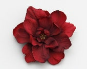 Small Red Flower Hair Clip - 1 PIECE  ----- Side Ponytail Accent - add to jacket lapel or headband