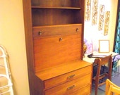 Mid Century Danish Modern Desk Secretary Bookcase Wall Unit Tapered Leg Walnut - Ramseur