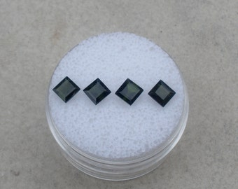 4 Dark Green Tourmaline Square Gems 4mm each