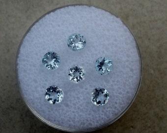 6 Aquamarine round loose gems 4mm each