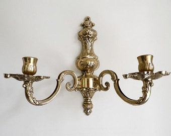 Brass Wall Sconce - Candle Wall Sconce - Hanging Light Fixture - Brass Candlesticks