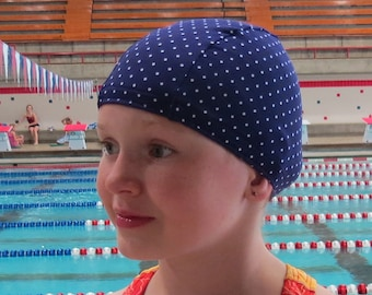 Lycra SWiM CaP - PURPLE PIN DOT - Sizes - Baby , Child , Adult , Xl - Made from Spandex / Swimsuit Swimming Fabric -by Froggie's Swim Caps