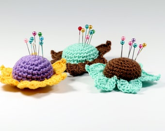 Crochet Pattern Flower Pincushion Pincushion PDF Pattern Crafting Tutorials