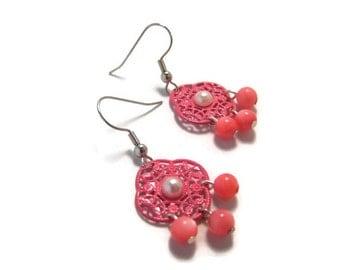 CLEARANCE...Pink Enameled Filigree Earrings