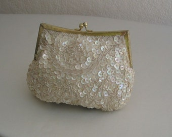 Clutch Purse Beaded Vintage Wedding 3-Way