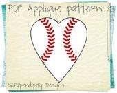 Baseball Heart Applique Pattern -  Sports Applique Template / Kids Boys Baseball Applique / Sports Quilt Pattern / Red White Tshirt AP269-D