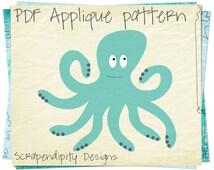 Octopus Applique Pattern -  Ocean Applique Template / Ocean Quilt Pattern DIY / Octopus Applique Shirt / Ocean Wall Hanging Digital AP341-D