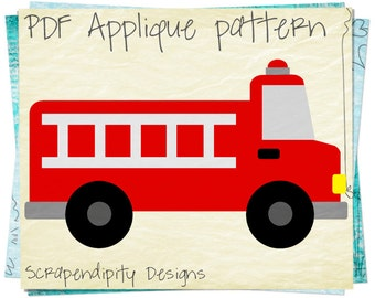 Fire Truck Applique Pattern -  Emergency Vehicle Applique Template / Fire Truck Quilt Pattern / Kids Boys Nursery Blanket / Clothing AP292-D