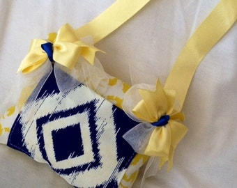 Tooth Fairy Pillow Navy White and Daffodil Yellow with Fairy Receipts