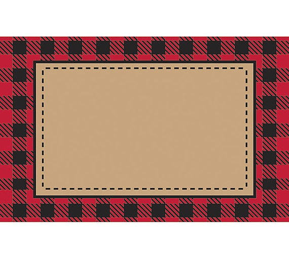 Red tan plaid print florist blank enclosure cards small