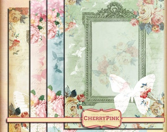 SHABBY BUTTERFLY FRAME digital shabby chic printable - instant download