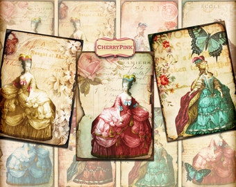 MARIE ANTOINETTE ATC Cards Digital Collage Sheet, shabby chic printable instant download gift tags