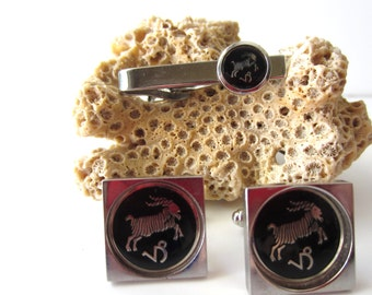 Great Set of Aries Cuff Links and Tie Clip