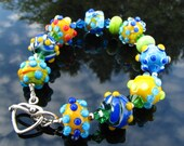 Artisan Glass Bead Lampwork Bracelet Handmade Jewelry Handcrafted Flamework Wearable Art SRAJD