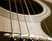 Acoustic Guitar Strings Art Print Photography Music Art Mancave Decor Industrial Rustic Modern Home Decor Sepia Print