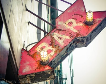 Bar Sign Art Print, Bar Decor, Vintage Rustic Industrial Home Decor, Red Bar Sign, New York City Art Print Photo, NYC Photography