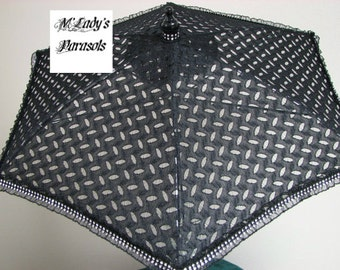 VICTORIAN PARASOL Umbrella in Black Embroidered Lace Embellished with Diamond Mesh Trim on Ruffle Steampunk Pageant Costume Quinceanera Prom