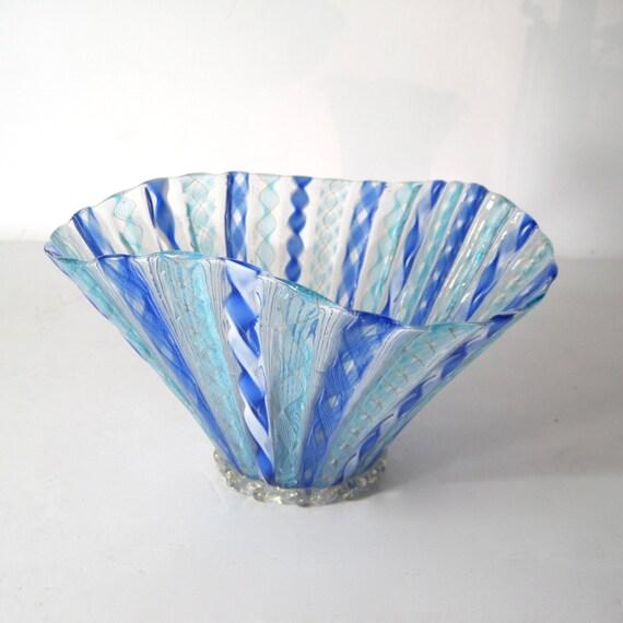 Latticino ribbon art glass handkerchief vase free shipping for Painting with a twist fenton mi