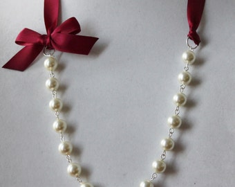 Ivory Pearl and Burgundy Ribbon Bow Necklace