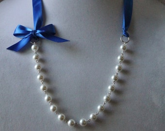 White Pearl and Royal Blue Ribbon Bow Necklace