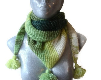 Hand Knitted Scarf Triangle Shape Bactus Green Shades With TasselsExtra Soft Warm Mohair